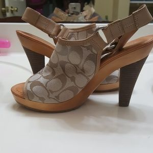 Coach beige wood heel